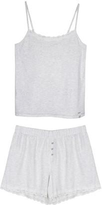 Pretty You London Organic Cotton Cami Short Set In Grey Ecru Stripe