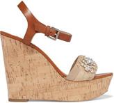 Michael Kors Anastasia embellished leather and cork wedge sandals