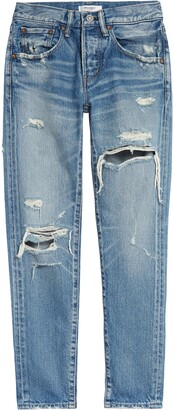 Moussy Bowie Ripped Tapered Leg Jeans