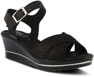 Spring Step Leather Wedge-Heel Sandals - Rochelle