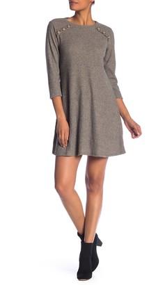 Como Vintage Rib Knit Button Accent Dress