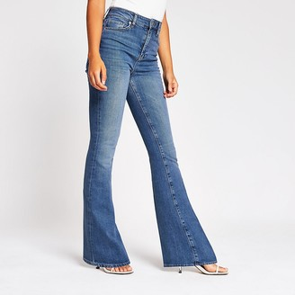 River Island Blue high rise flare jeans