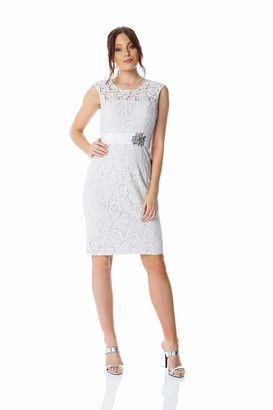 Roman Originals Women Lace Embellished Trim Dress - Ladies Short Sleeve Round Neck Special Occasion Mother of The Bride Vintage Wedding Guest Ascot Races Dresses Outfits - Navy - Size 14