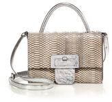 Maison Margiela Large Top-Handle Snake & Metallic Leather Shoulder Bag