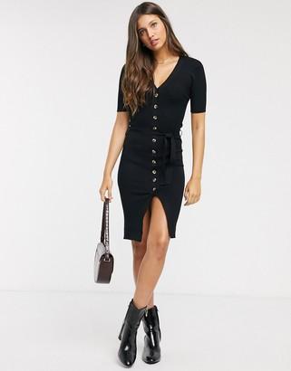 Brave Soul dallas midi jumper dress with button through-Black