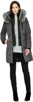 Soia & Kyo CHRISSY-F6X Brushed down jacket with removable fur in Ash