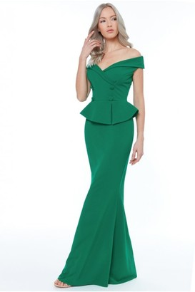 Iclothing Goddiva Emerald Bardot Crossover Maxi Dress