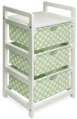 Badger Basket White 3-Drawer Hamper/Storage Unit, Sage Polka Dots