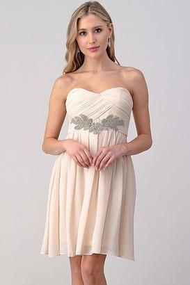 Minuet Womens Sweatheart Short Dress with Crystal Embellishment