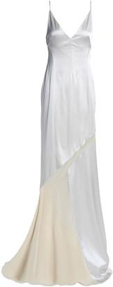 Galvan Chiffon-paneled Satin Gown
