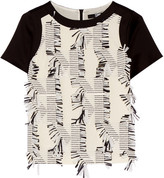 Karl Lagerfeld Fringed Piqué And Satin-crepe Top - Off-white