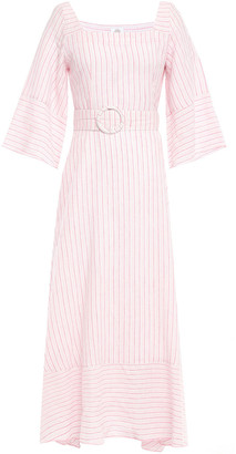 Gül Hürgel Liatris Belted Striped Cotton And Linen-blend Maxi Dress