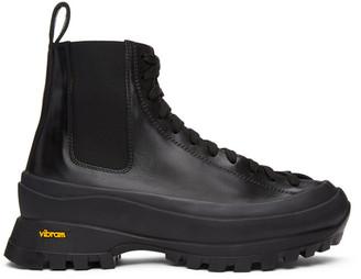 Jil Sander Black Lace-Up Combat Boots