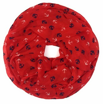 Feelinko Maritime Women's Loop with Anchor Scarf Loop Neckerchief Tube Scarf Women's - Red - One size