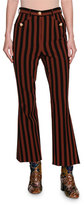 Dolce & Gabbana Striped Kick-Flare Cropped Pants with Dog Buttons, Multicolor
