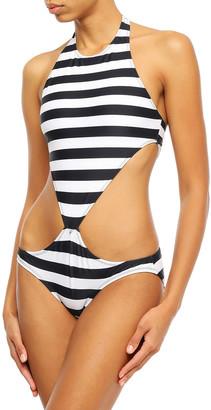 Norma Kamali Cutout Striped Swimsuit