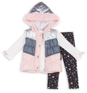 Little Lass Little Girl's 3-Piece Hooded Faux Fur-Trim Vest, Ribbed Top & Leggings Set