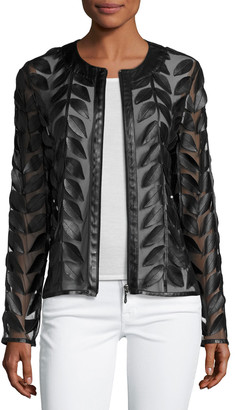 Neiman Marcus Leather Collection Leather Leaf-Trimmed Sheer Organza Jacket, Black