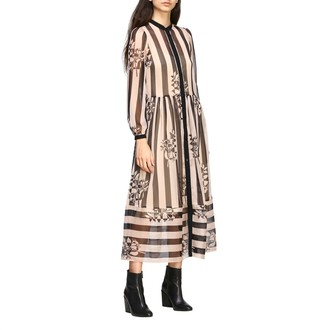 Twin-Set Long Dress With Bands With Prints