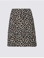 M&S Collection Cotton Blend Animal Print A-Line Mini Skirt