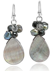 Aeravida Handmade Ocean's Teardrops Peacock Freshwater Pearl Cluster Dangle Earrings