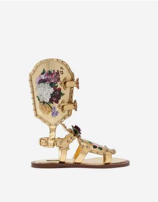 Dolce & Gabbana Gladiator Sandals With Floral Painting And Studs