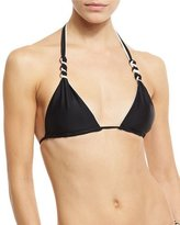 Vix Double-Face Knotted Swim Top, Black