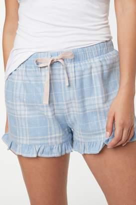 Next Womens Blue Check Cotton Flannel Shorts - Blue