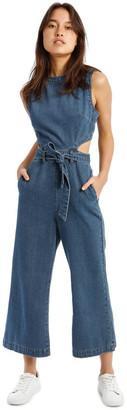 Missguided Blue Denim Cut-Out Jumpsuit Mid