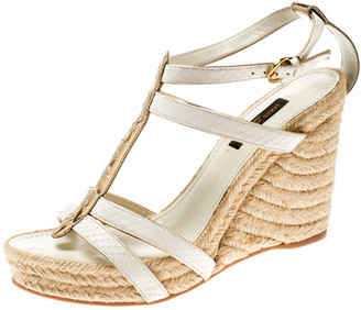 Louis Vuitton White/Gold Monogram Leather and Python Bahamas T-Strap Espadrille Wedge Sandals Size 37