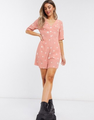 Nobody's Child playsuit with buttons in star print