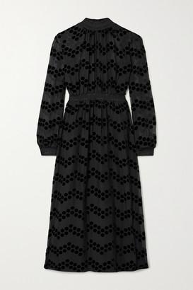 Tory Burch Polka-dot Flocked Chiffon Midi Dress - Black