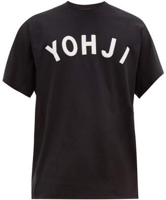 Y-3 Y 3 Yohji Baseball Style Applique Cotton T Shirt - Mens - Black White