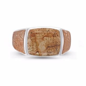 Lmj Light Brown Picasso Jasper Stone Ring