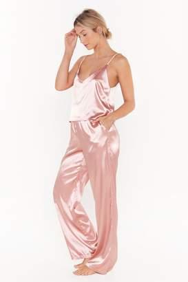 Nasty Gal Womens The Sleepover Club Satin Cami and Trousers Pyjama Set - pink - 10