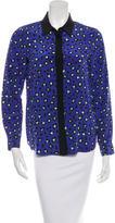 Kate Spade Silk Leopard Print Button-Up