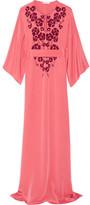 Oscar de la Renta Embellished Silk Crepe De Chine Gown - Papaya