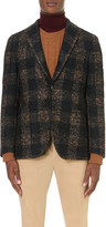 Boglioli Single-breasted large check wool-blend jacket