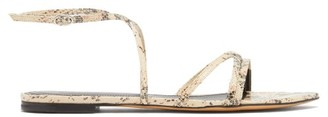 Isabel Marant Apopee Python-effect Leather Sandals - Womens - Light Pink