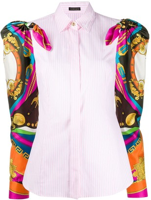 Versace Baroque Sleeves Striped Shirt