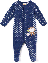 Sweet & Soft Navy Blue Monkey Footie Romper