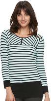 Elle Women's ELLETM Contrast-Stripe Crewneck Sweater