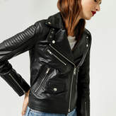 Warehouse Quilted Leather Biker Jacket
