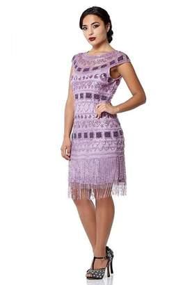 Gatsbylady London Beverley Fringe Flapper Dress in Lilac