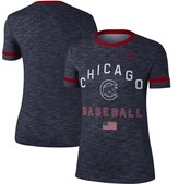 Nike Women's Navy Chicago Cubs Fourth Of July Performance Slub Crew Ringer T-Shirt