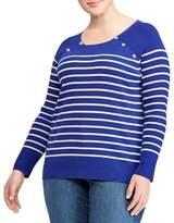 Lauren Ralph Lauren Plus Striped Crewneck Sweater