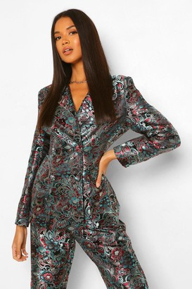 boohoo Tailored Oriental Jacquard Double Breasted Blazer
