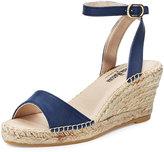 Neiman Marcus Jumana Leather Wedge Sandal, Navy
