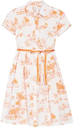 Donna Morgan Tropical Print Stretch Poplin Fit & Flare Shirt Dress