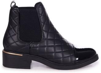 Linzi ZIMI - Black Nappa Quilted Chelsea Boot With Patent Toe Cap And Gold Heel Trim